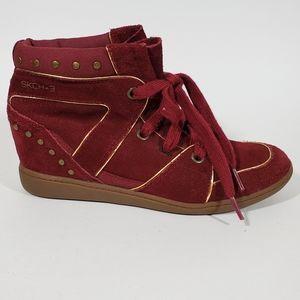 Skechers +3 Hidden Wedge Red Suede Studded Sneaker